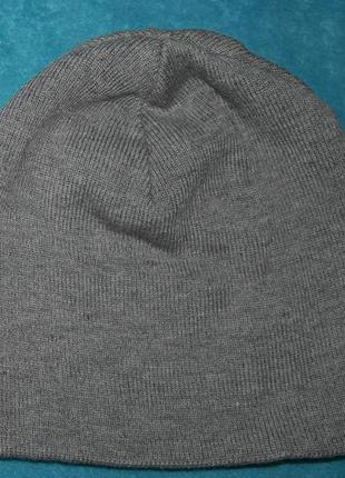 Новая шапка бини плотная ровная вязка серая