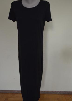 Стильное трикотажное котоновое платье длинное