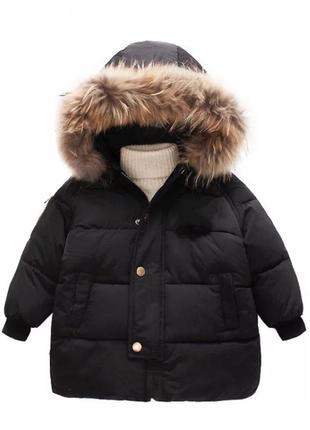 Зимняя женская короткая куртка пуховик короткая дутая с меховым капюшоном большой мех