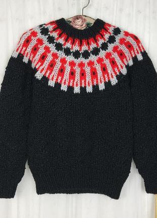 Винтажный вязаный черный свитер в орнамент в скандинавском норвежском стиле винтаж