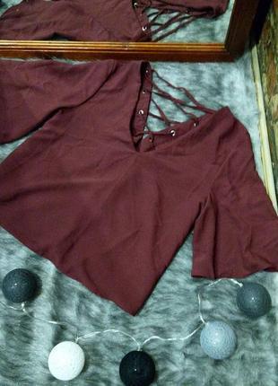 Топ блуза кофточка с v-образным вырезом и шнуровкой на спинке miss selfridge