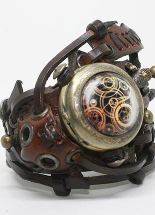 Кожаный браслет с часами