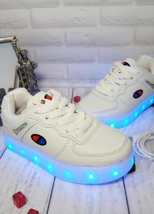 Стильные белые led -кроссовки с подзарядкой от usb 26-37р