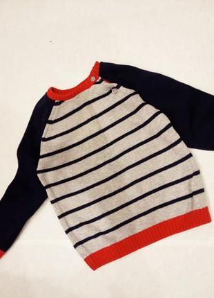 18-24мес. 92см . свитер,джемпер,кофта ,в полоску,пуговицы f&f