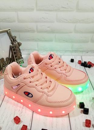 Очень стильные розовые led -кроссовки с подзарядкой от usb 26-37р