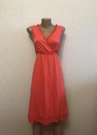 Летнее платье сарафан с перфорацией прошва 100% коттон
