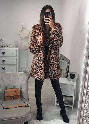 Супер тренд! леопардовая шуба/ меховое пальто