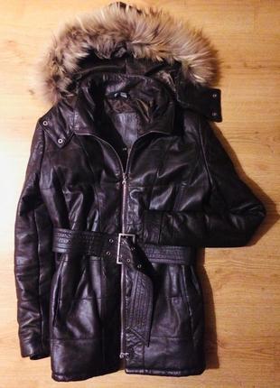 100% кожаная тёплая куртка с мехом енота