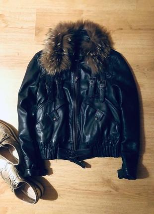 100% кожаная куртка с мехом