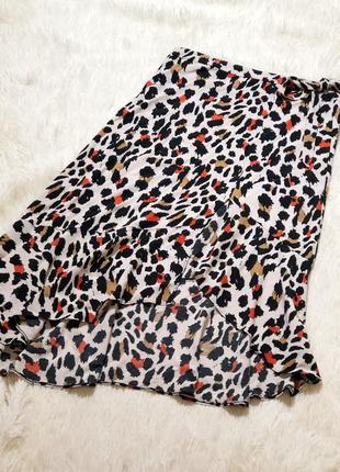 Стильная юбка миди с разрезом в леопардовый принт f&f