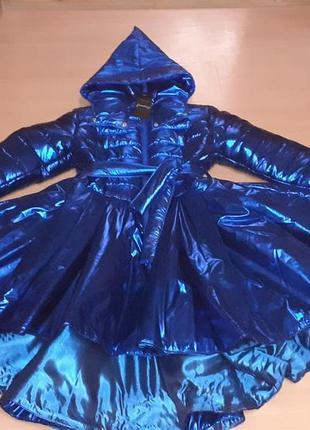 """Невероятное,эксклюзивное зимное пальто фольга,просто """"восторг""""очень пишное електрик🔥💙💙💙"""