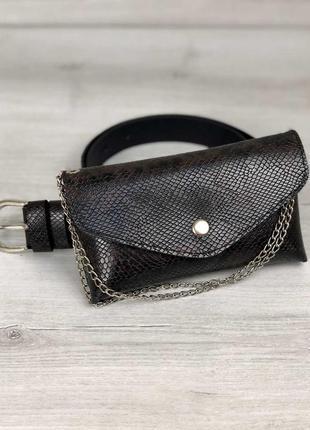 Женская сумка на пояс айлин коричнево-черная змея 993030