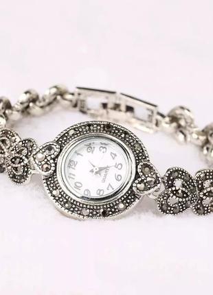 Часы в стиле античное серебро, ретро, винтаж, марказит посеребренные 925