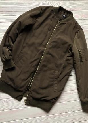 Удлиненный хаки оливковый утепленный теплый бомбер куртка оверсайз oversize s m