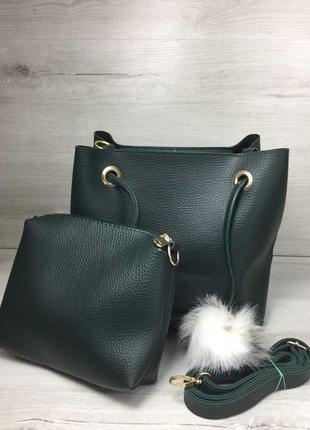 2в1 молодежная женская сумка пушок зеленого цвета 550280