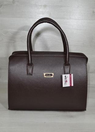 Каркасная женская сумка саквояж коричневый гладкий материал 311220