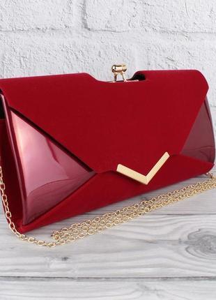Вечерний клатч бордовый велюр/лак, сумочка rose heart 002, расцветки