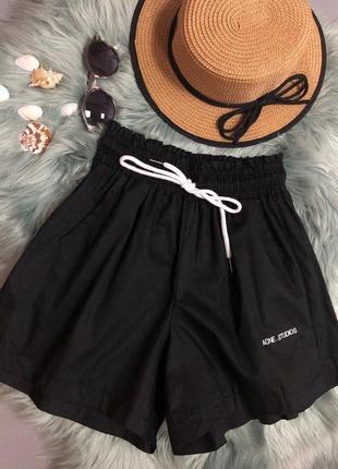 Женские котоновые шорты, черные, 42-50