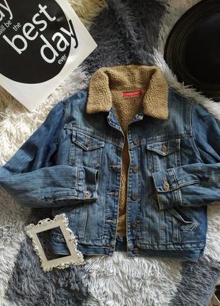 Джинс джинсовка деним куртка косуха мех утеплена утепленная