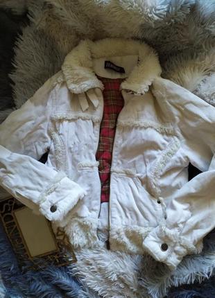 Куртка деним джинс джинсовка утеплена утепленная белая мех косуха дубленка