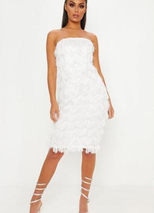 Prettylittlething біла пухнаста міді-сукня