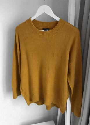 Оранжевый тёплый свитер, мягкий горчичный джемпер