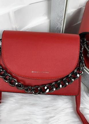 Сумка сумочка клатч червона красная з ланцюжком
