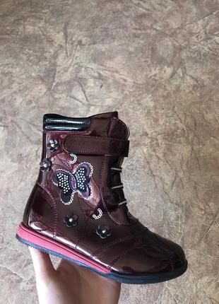 Лаковые бордовые ботинки, сапоги детские демисезонные