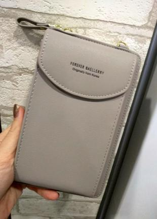 Женская сумочка клатч кошелек baellerry forever через плечо, для телефона. серый