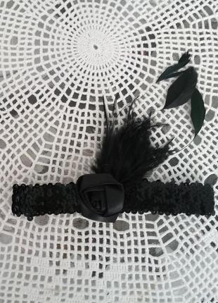 Головной убор повязка с цветком в стиле 20-хх гг, чикаго, гетсби, мулен руж