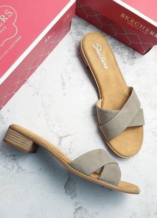 Skechers california luxury оригинал замшевые босоножки на удобном каблуке