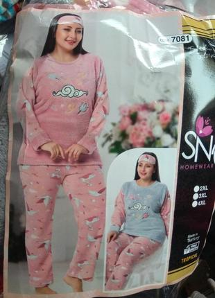 Пижама мохра флис, большой размер, теплая, пижамка качество