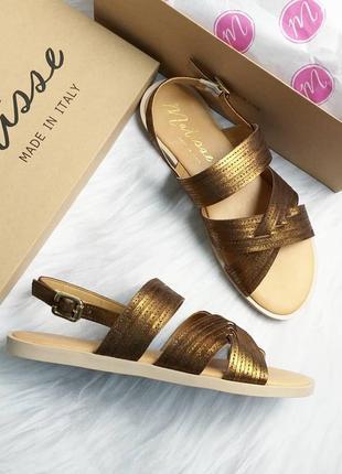 Matisse оригинал бронзово-золотистые кожаные сандалии