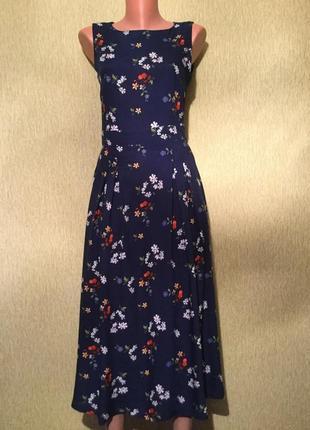 Платье миди в цветы цветочный принт синее