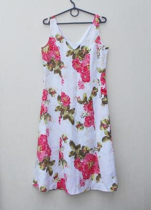 Летнее льняное  платье миди   в цветы  blue seven women 🌿