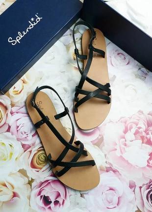 Splendid оригинал кожаные черные сандалии