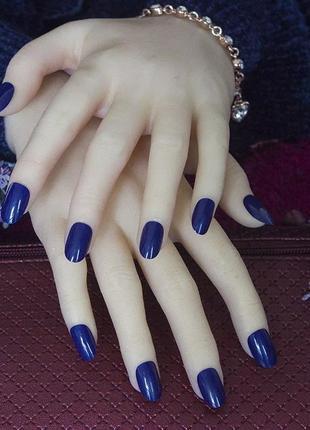 Комплект накладных ногтей 24 шт темно-синего цвета
