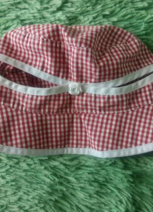 Красная в клетку шляпа, панама, панамка на 3-6 лет, хлопок