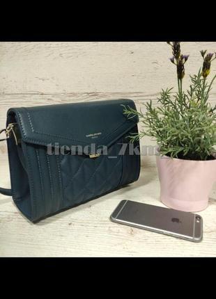 Стильная стеганая сумка через плечо / клатч david jones 6142-1t бирюзовый
