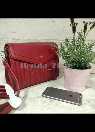 Стильная стеганая сумка через плечо / клатч david jones 6142-1t красный