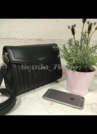 Стильная стеганая сумка через плечо / клатч david jones 6142-1t черный