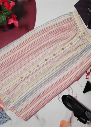 Модная юбка на пуговках new look, лен, размер 12/40, новая с этикеткой