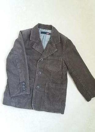 Стильный вельветовый пиджак на подкладке на 4 годика