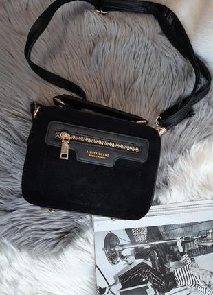 Новая женская сумка черная под замшу замш замшевая сумочка прямоугольная квадратная