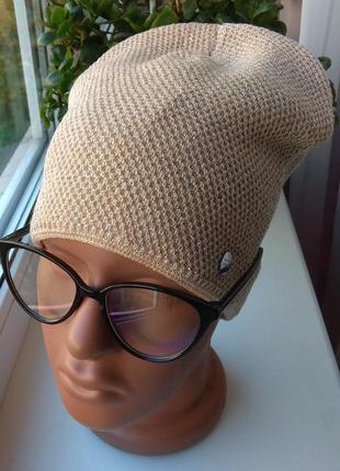 Новая стильная шапка с люрексом (на флисе), бежевая