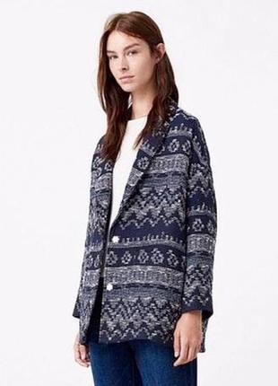 Стильная вязаная куртка, пиджак из хлопка mango oversize /xs / синий меланж