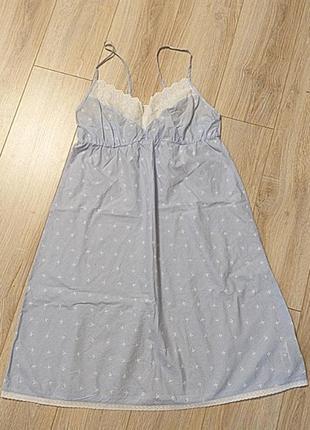 Нежно-голубая хлопковая ночная сорочка m&s, размер 12/40