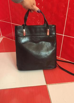 Крутой кожаный рюкзак сумка vera pelle/100%кожа/трансформер