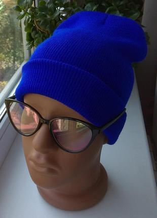 Новая стильная шапка бини, синяя