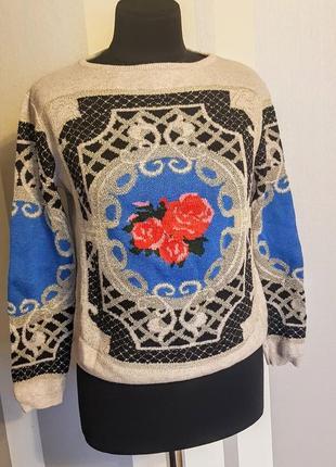 Классный свитер свитшот с орнаментом и люриксом